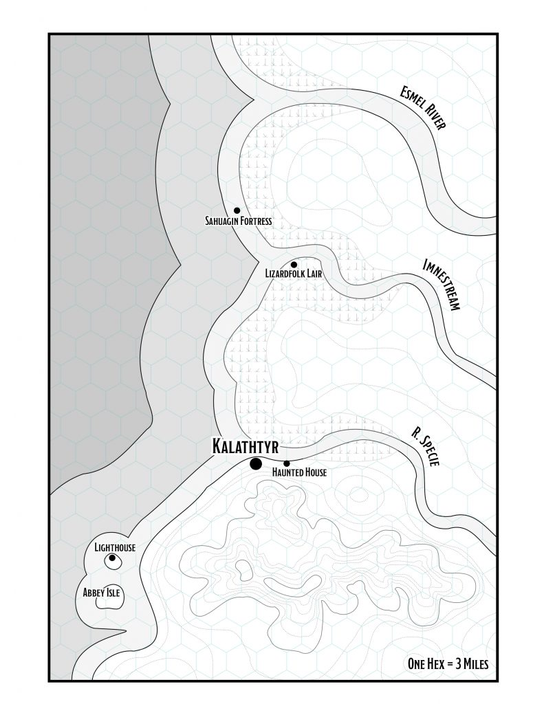 Map of southwestern Amn in the Forgotten Realms, adapted for use in Ghosts of Saltmarsh